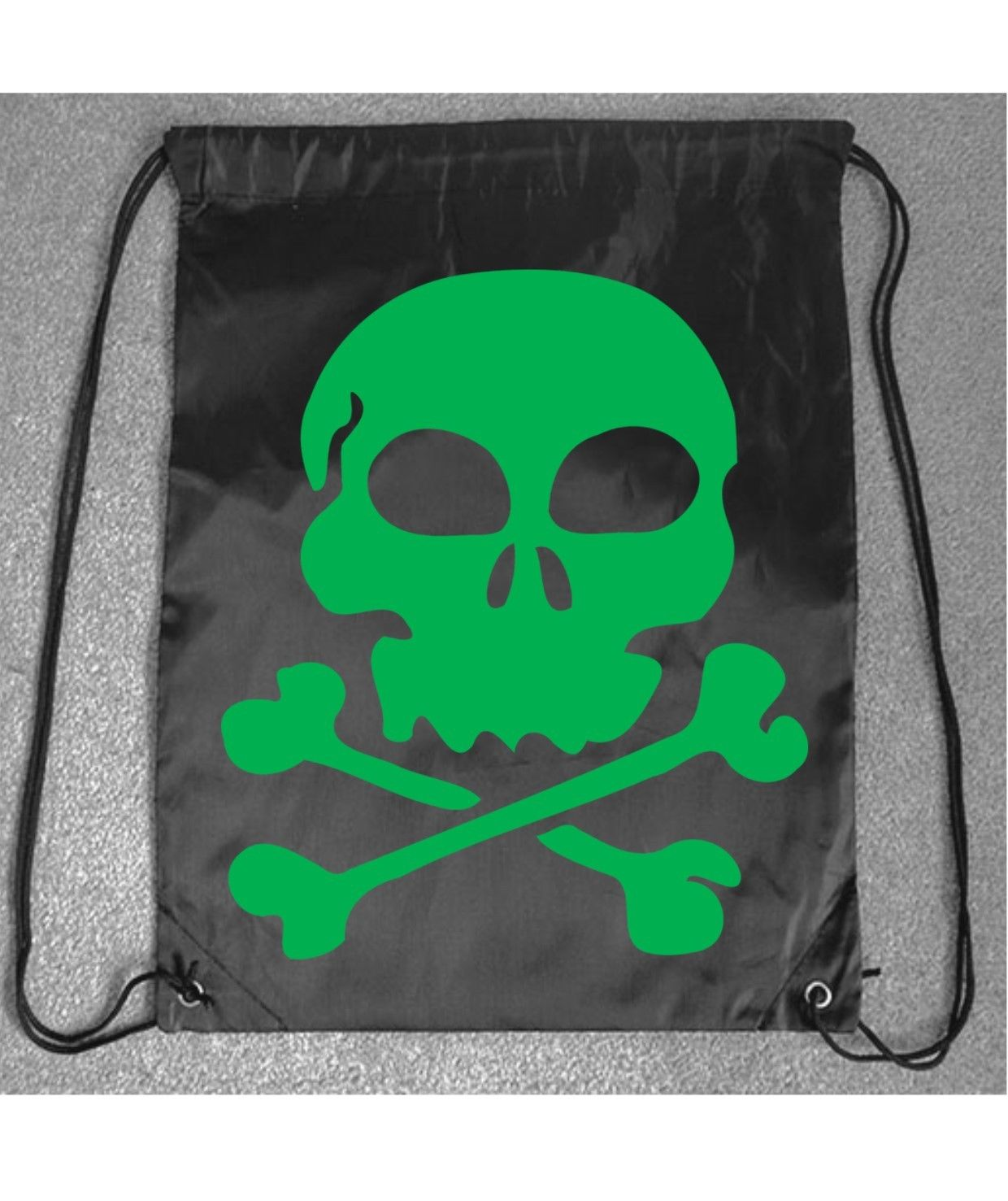 9300fee001 Skeleton Skull Green Funny PE Gym Bag Printed Drawstring Fitness Sport  Workout