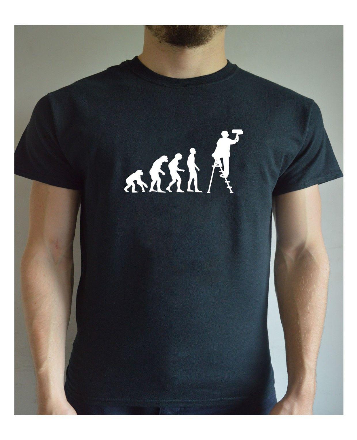 Funny Printed T Shirt Evolution - Painter Painting Christmas Present Joke