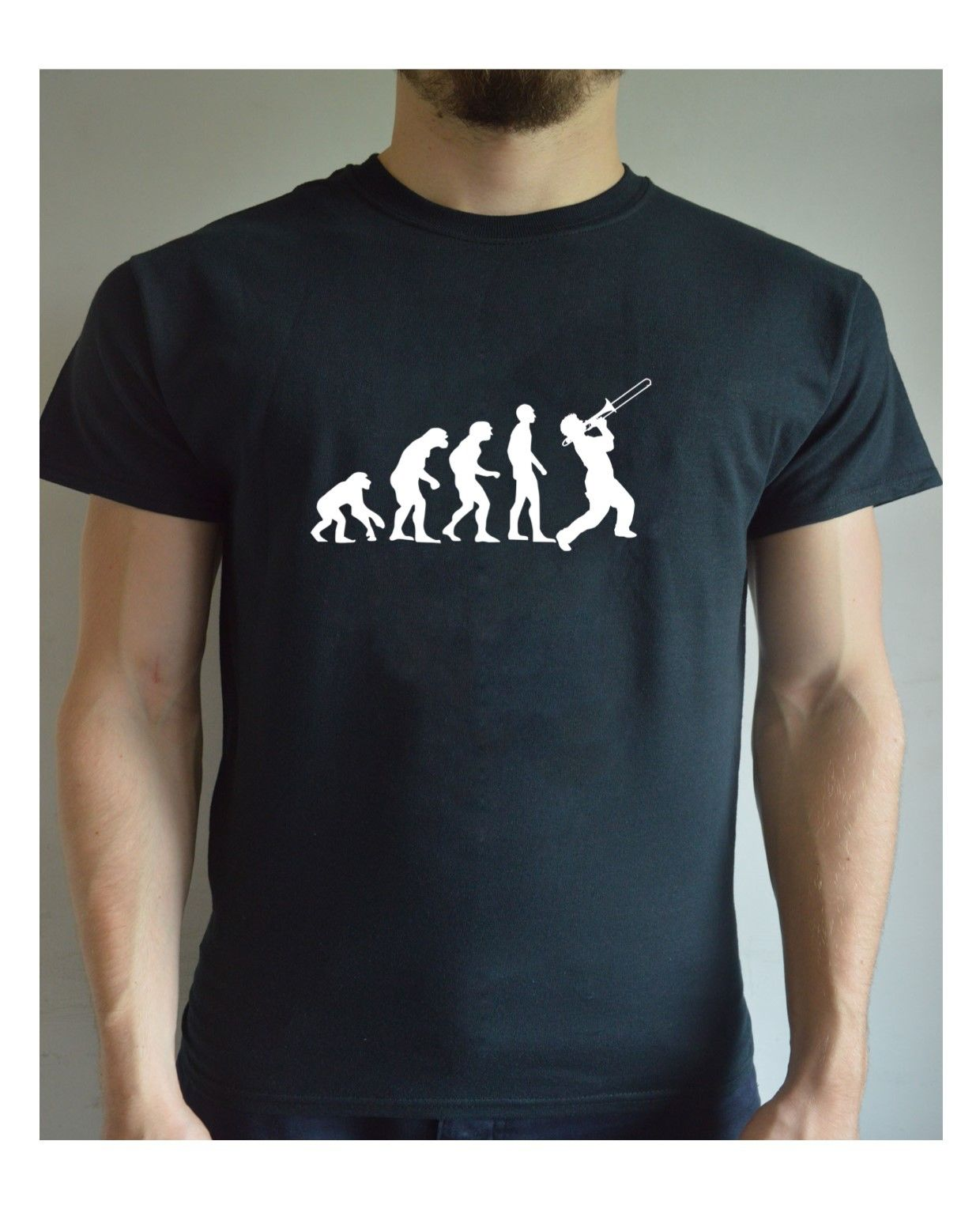 abc7939650 Funny Printed T Shirt Evolution – Jazz Trumpet Player Christmas Present Joke