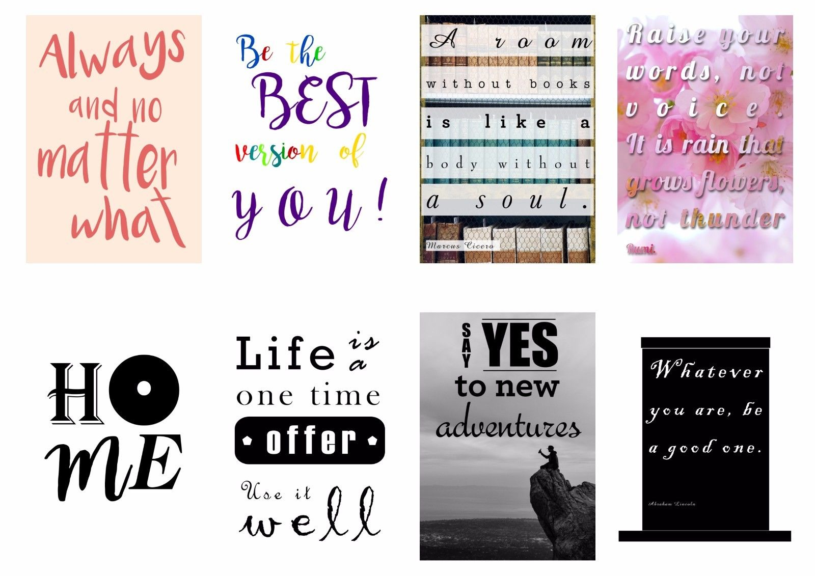 Life Quote Posters Inspirational Motivational Quote Posters  A3  A4 Size Portrait