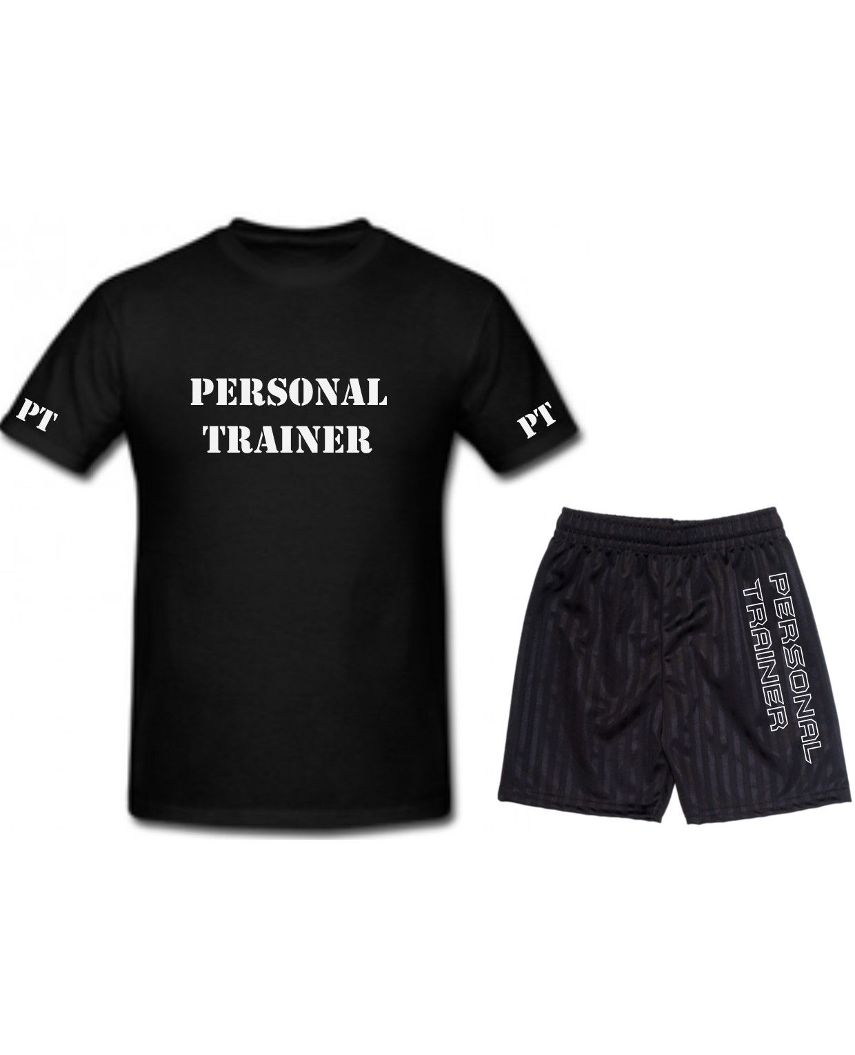 T Trainer Printed Set Fitness Shirt Shorts Gym Workout Personal Pt j34RA5L