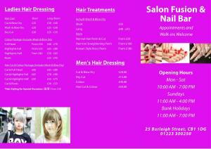 Salon Price List